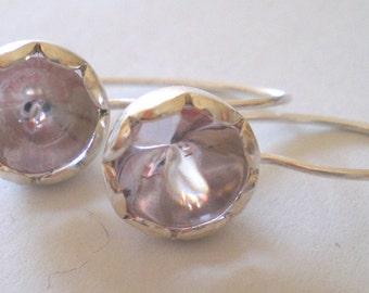Rose de France, lilac, earring, blossom, elegant, cabochon, gift