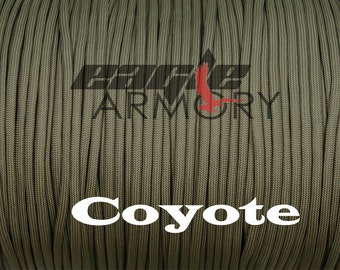 550 Paracord Commercial 7 Strand 50 foot COYOTE 550 paracord.  Made in the USA.  Fast shipping