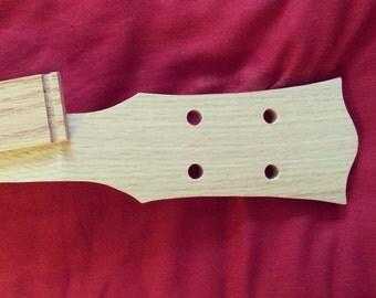 "Cigar Box Guitar Neck 4-string, Oak LP style w/fingerboard, 5/16"" Peg Holes"