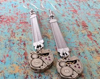 Ceba De Luxe Earrings, Steampunk Jewelry, Silver Earrings, Watch Band Earrings, Watch Movement Earrings, Watch Movement, Steampunk Earrings