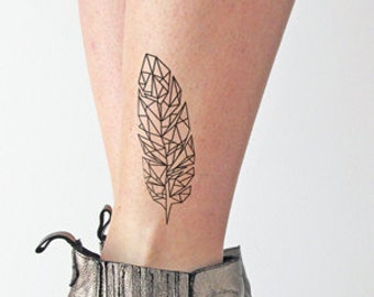 Geometrical Feather - Temporary tattoo (Set of 2)