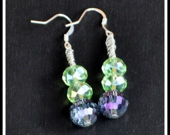 Light Green and Blue Beaded Dangle Wire Wrapped Earrings