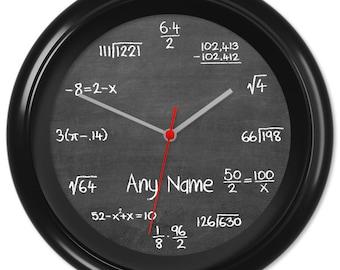 Maths Clock Teacher Student Pupil Equation Chalkboard Blackboard Classroom #4 - Can be personalised (7247)