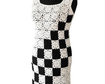 Crochet dress Black and White dress Elegant dress Coctail dress Linen Dress quick shipping worldwide 10-14 business days