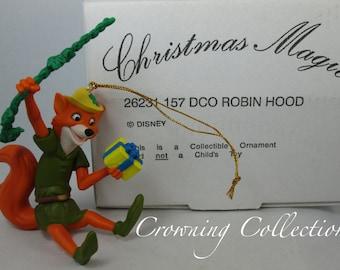 Grolier Robin Hood Ornament Disney Christmas Magic DCO Fox Swinging Vine Present Walt Disney