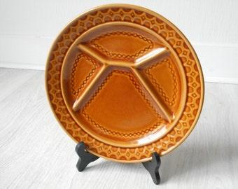 stunning used vintage French Sarreguemines majolica divider / fondue plate