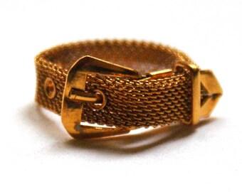 Vintage belt ring with new golg filling