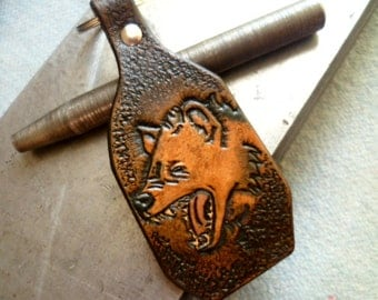 Handcrafted Leather KeyChain-Hyena