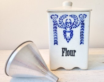 Vintage Flour Canister / White and Blue Ceramic Flour Container