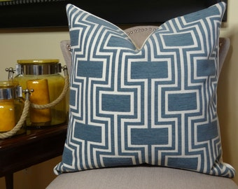Blue Geometric Pillow Cover - Blue Cream Trellis Throw Pillow - Decorative Throw Pillow -  Modern Blue Pillow - Luxury Throw Pillow - 11207