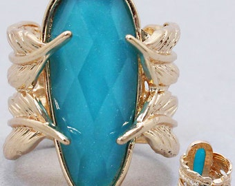 Blue & Gold Hinged Leaf Ring