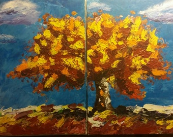 Sunburnt Tree.  Original pallette knife painting