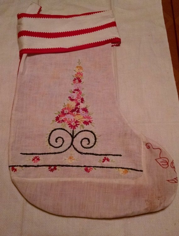 SALE Vintage Fabric Christmas Stocking  sale  was  20  now  14  SALE!!!!