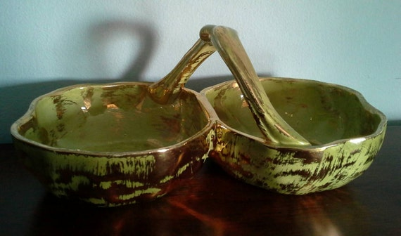 Granada Gold Mid Century Candy Dish by Stangl Pottery, Chartreuse and Gold