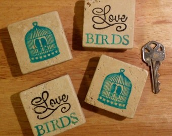 Free Shipping ~ Set of 4 Magnets ~ Party Favors ~ Stone Magnets ~ Stamped Magnets ~ Wedding Favors