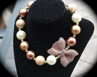Gold Bow children's / Adults Bubblegum Necklace / Bracelet Set with gold pearls, ivory pearls and gold beads.