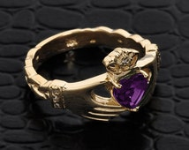 Yellow Gold Claddagh Ring w/ CZ Alexandrite & Diamonds, Diamond Claddagh Ring, Claddagh Alexandrite Ring, CZ Alexandrite Ring