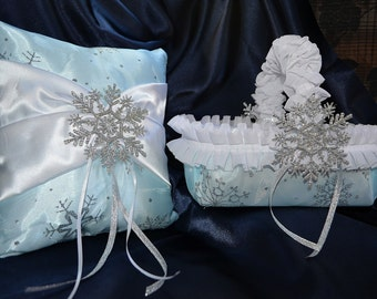 Silver, blue and white snowflake ring bearer pillow and flower girl basket