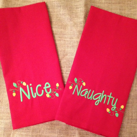 Naughty or Nice Towel, Reversible Kitchen Towel, Christmas Kitchen Towel, Holiday Home Decor, Christmas Tea Towel, Christmas Decor