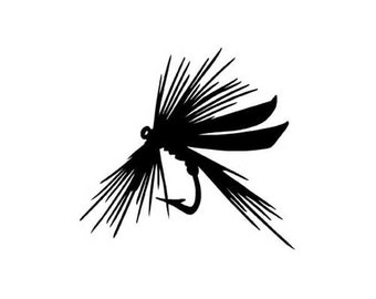 "Fly Fishing Lure - Vinyl Decal Sticker - 4"" long x 3.75"" high - 24 Colors - [#1332]"