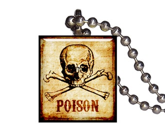 Skull Crossbones Vintage Poison - Reclaimed Scrabble Tile Pendant Necklace