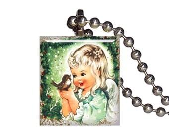 Vintage Baby Bird Child - Reclaimed Scrabble Tile Pendant Necklace
