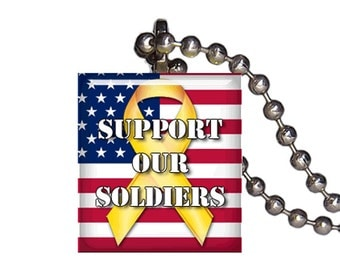 America Support Our Soldiers Yellow Ribbon - Reclaimed Scrabble Tile Pendant Necklace
