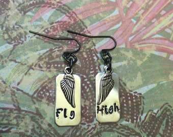 Silver Handstamped Earrings with Wings