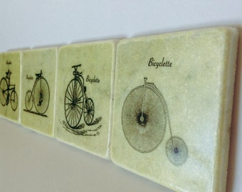 French Vintage Bicycles Coasters - Bicycle Stone Tile Coasters - Natural Stone - Home Decor - Set of 4