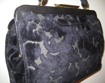 Pretty Blue Brocade Handbag - Vintage Classic!
