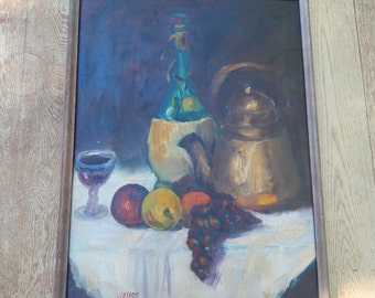 Vintage 1965 Original Oil Painting  Still Life