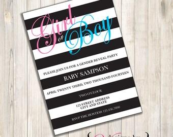 Black Stripe Gender Reveal Invite