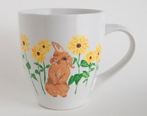 Hand painted bunny with sunflowers mug, 16 oz, mug for spring