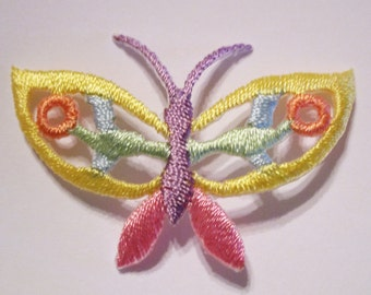 Set of (7) Yellow Pink Pastel Open Cutwork BUTTERFLY~ Embroidered Applique Patch Lot