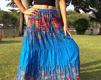 Long Gypsy Floral Skirt -Boho- Lightweight - Elasticated Waist -Blue