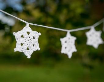 Christmas garland, crochet christmas decoration, crochet snowflake garland, christmas crochet bunting, crochet star garland, Christmas decor