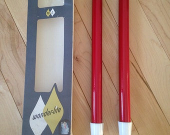 Wonder-Lite Red Gas Candles ~ Retro Gas Lite Candles ~ New in Box 1960's Candles ~ Made in Minnesota