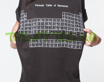 Periodic table shirt etsy periodic table of elements tshirt chemical black t shirt short sleeve women shirts unisex size urtaz Images