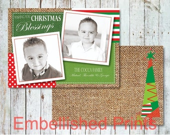 Burlap Christmas Photo Card