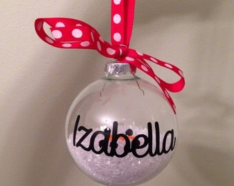 Melted Snowman Christmas Ornament With Bow (With Or Without Personalization)