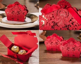 25 Wedding Gift Card Boxes, Sweet Candy Party Favor Box (Red Lace with Bow)