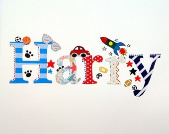 Boy Personalised Name  Mixed Media Art