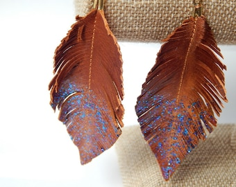 Brown glitter Leather Feather Earrings