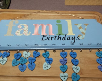 Family Birthdays, Anniversaries, or Celebrations plaque