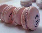 12 pieces macaron, french macaron, french cookies, pink fancy macaron, blueberry marshmallow cream macaron