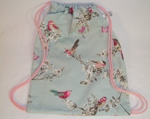 Child/small drawstring backpack bag - duck egg blue cotton fabric with birds and butterflies