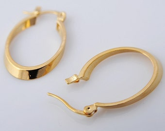 14K Solid Yellow Gold Filled Hoop  Womens Earrings