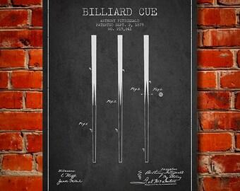 1879 Billiard Cue Patent, Canvas Print,  Wall Art, Home Decor, Gift Idea