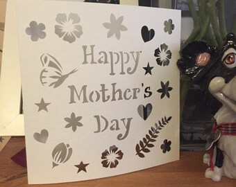Happy Mother's Day Card paper cut template - personal use