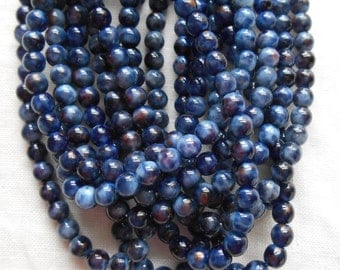 50 4mm Opaque Cobalt Blue Picasso Stone glass beads, smooth round druk beads, C3550